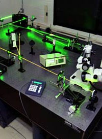 The Optical Damage Threshold test station at NASA Langley Research Center has three lasers: a high-energy pulsed ND:Yag laser, a Ti:sapphire laser and an alignment HeNe laser.