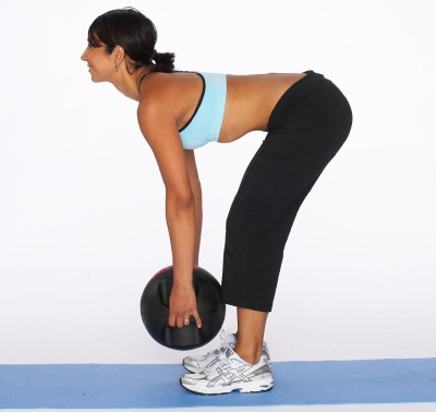 How to Do a Dead Lift with Medicine Ball Step Two