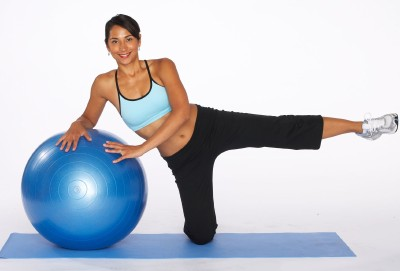 How to Do an Outer Thigh Lift with Stability Ball Step Two