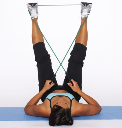 How to Do an Outer Thigh Sculpt with Resistance Tube Step Two