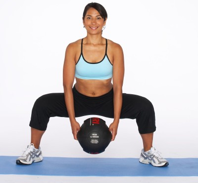 How to Do a Sumo Squat with Medicine Ball