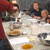 Bill and Jen from TLC's 'The Little Couple' learned to prepare Pumpkin Pie at Well Done Cooking Class in Houston, Texas.