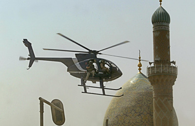 Blackwater helicopter flying in Baghdad