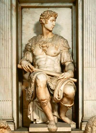 Giuliano, Detail of Michelangelo's Tomb of Giuliano de' Medici