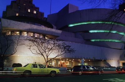 The Guggenheim Museum on Upper Fifth Avenue, with its striking and unusual architecture, showcases modern art.
