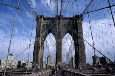 The Brooklyn Bridge, a pedestrian-friendly bridge that connects Manhattan with Brooklyn, is an architectural icon.