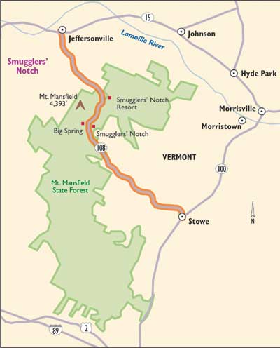 Vermont Scenic Drives: Smugglers Notch | HowStuffWorks on wilmington map, arlington map, mount mansfield map, essex map, brookfield map, cambridge map, worcester map, suicide six map, plymouth map, woodbury map, eden map, magic mountain map, ludlow map, weston map, burlington map, shrewsbury map, jay peak map, brownsville map, newport map, cabot map,