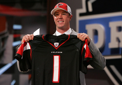 Matt Ryan was selected third overall by the Atlanta Falcons during the 2008 NFL Draft.