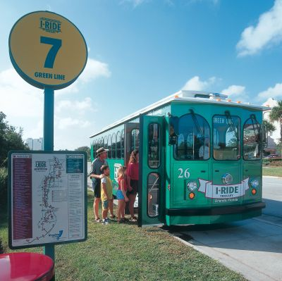 I-Ride Trolleys run along International Drive between 8 am and 10:30 pm for just a dollar a ride.