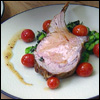 Oven-Roasted Veal Rib-Eye with Fava Beans, Fresh Basil and Vine-Roasted Tomatoes
