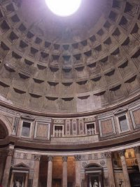 All lighting in the Pantheon is natural, entering through the 27-foot oculus in the dome.
