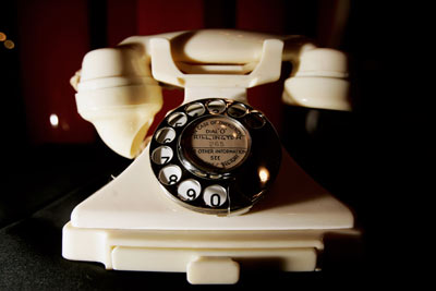 "A Bakelite telephone in ""100 Years of Plastic"" at the Science Museum in London in 2007. The exhibition was a celebration of plastics timed to coincide with the 100th anniversary of Leo Baekeland's invention of Bakelite."