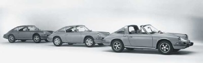 Shown from left are the 1973 Porsche 911 S, T, and E models.