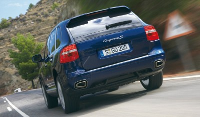 2008 Porsche Cayenne S rear view in action
