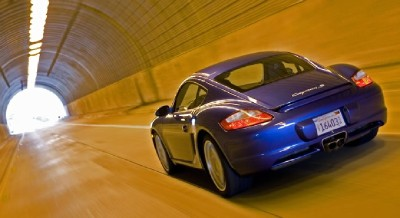 2007 Porsche Cayman S in tunnel