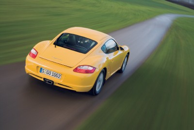 Porsche Cayman rear view, in action