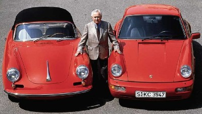 Ferry Porsche with a 1964 Porsche 356C and 1989 Porsche 911 Carrera