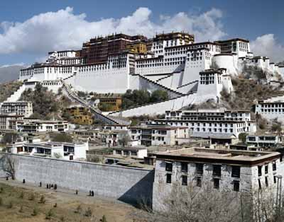 On top of Marpo Ri, or Red Mountain, stands Potala Palace, the great landmark of Lhasa.