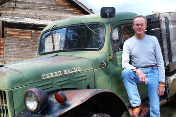 Peter Fonda leans against his 1952 Dodge truck on his ranch in the Paradise Valley near Livingston, Mont., on Sept. 1, 2004.