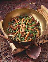 Stir-Fried Pork with Green Beans and Baby Corn