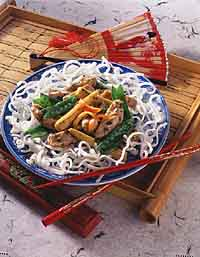 Lemon-Ginger Chicken with Puffed Rice Noodles