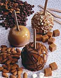Clockwise from top right: Caramel-Nut Apple, Caramel-Chocolate Apple and Caramel-Marshmallow Apple