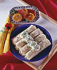 Breakfast Burritos with Baked Citrus Fruit