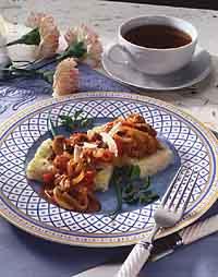 Rice Cakes with Mushroom Walnut Ragoût