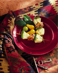 Grilled Spiced Halibut, Pineapple and Pepper Skewers