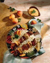 Grilled Sausage Kabobs with Apricot Mustard Sauce