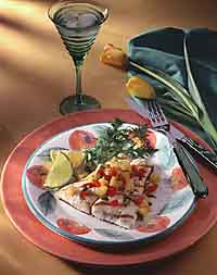 Pineapple Salsa Topped Halibut