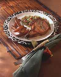Roast Pork Chop with Apple and Cabbage