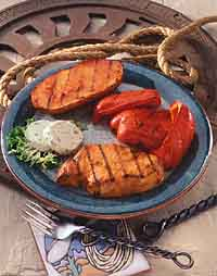 Fiery Grilled Buffalo-Style Chops and Vegetables