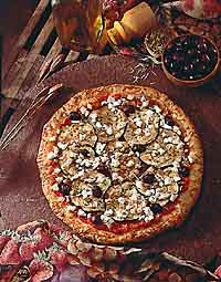 Roasted Red Pepper, Eggplant, Goat Cheese and Olive Pizza