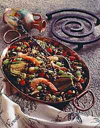 Shrimp, Wild Rice and Artichoke Paella