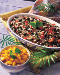 Caribbean Black Bean Casserole with Spicy Mango Salsa