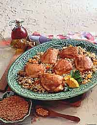 Braised Chicken Thighs with Fruited Rice and Lentils