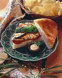 Basil Chicken and Vegetables on Focaccia