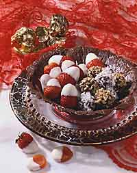 Chocolate Lace Bowl with Truffles & Dipped Fruit