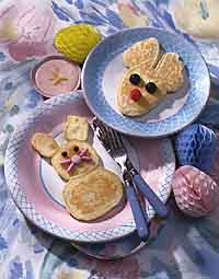 Bunny Pancakes with Strawberry Butter