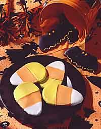Bottom to top: Candy Corn Cookies, Bat Cookies