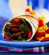 Steak and Grilled Vegetable Wrap