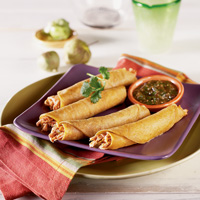Chicken Flautas with Roasted Tomatillo Salsa