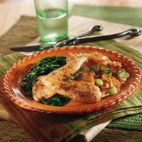 Chicken with Spinach and Celery Hash