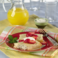 Cheese Blintzes with Strawberries & Sour Cream