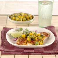 Grilled Red Snapper with Avocado-Papaya Salsa