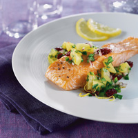 Salmon with Cranberry-Poblano Salsa