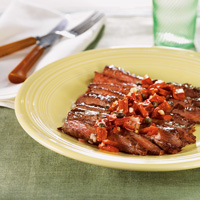 Skirt Steak with Red Pepper Chimichurri