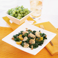 Orange Scallops with Spinach and Walnuts