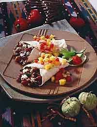 Bean and Cheese Burritos with Tomato-Mango Salsa